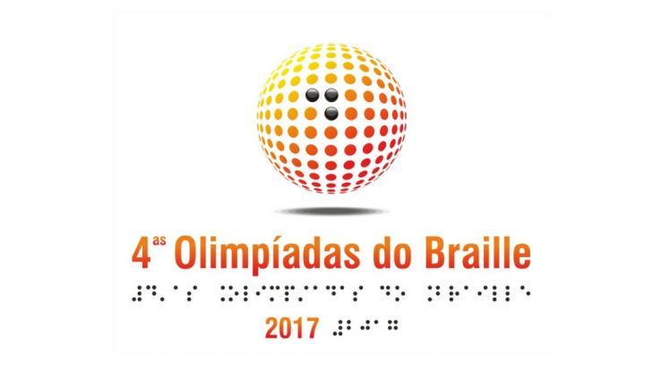 Logótipo laranja e amarelo das 4as Olimpíadas do Braille