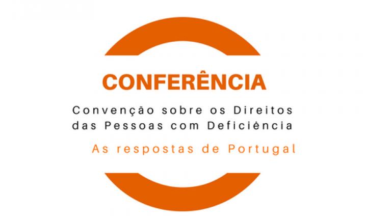 Logótipo da conferência em tons de laranja