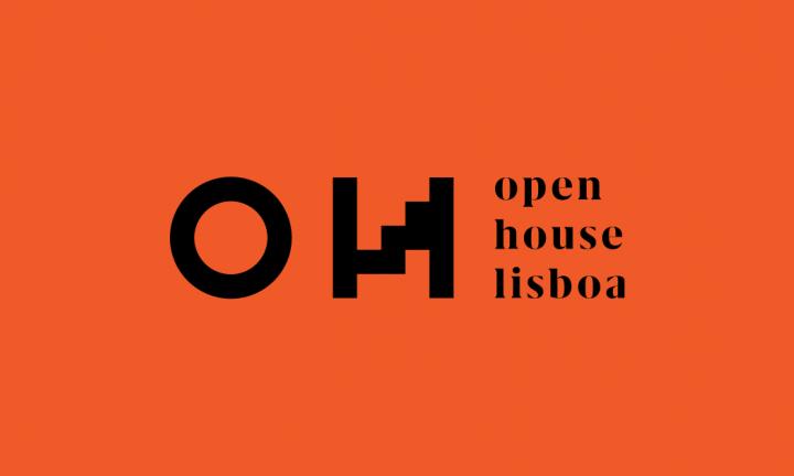 Logótipo Open House em fundo vermelho
