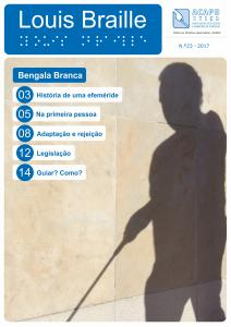 Capa da Revista Louis Braille - fotografia de sombra de pessoa de bengala